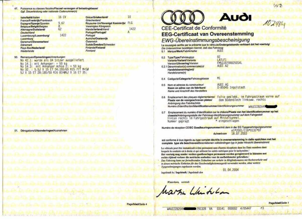 Sammlung Coc Papiere F 252 R Alle A2s Allgemein Audi A2